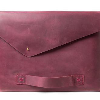 Кожаный чехол для Macbook с ручкой. 03016/бордо