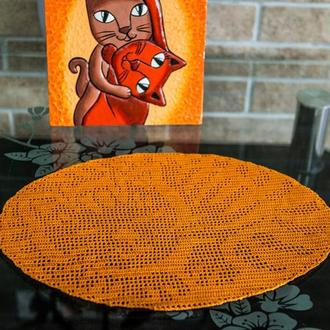 "Салфетка крючком ""Рыжий кот"""