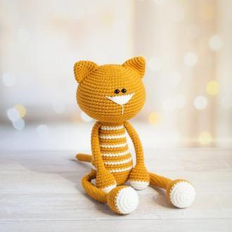 Вязаный кот. Первая игрушка. Подарок новорождённому. Игрушка для фотосессии с малышом. Эко-игрушка.