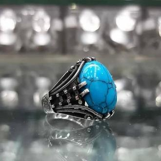 Винтажный перстень с голубым камнем Бирюза из серебра ручной работы