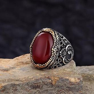 Перстень начало Алиф Вав  с бордовом красным камнем Сердолик из серебра