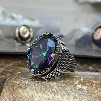 Массивный перстень с мистическим топазом граненым разноцветным камнем ручной работы