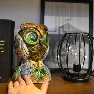 керамический  винтажный светильник сова