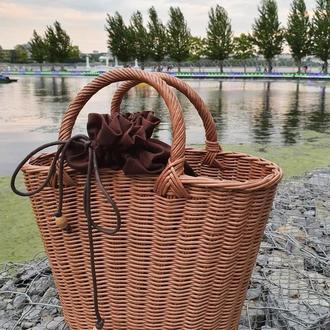 Плетеня сумка Сумка с хлопковым чехлом Сумка- корзина
