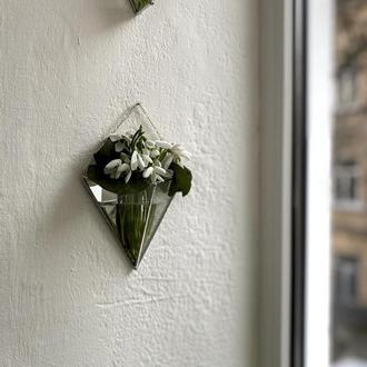 Скляна підвісна ваза для сухих та живих квітів з рельєфним склом