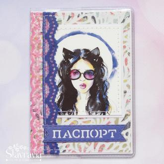 Обложка на паспорт с женщиной кошкой • обложка на загран • обложка скрапбукинг