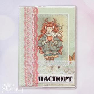 Обложка на паспорт с рыжей девушкой • обложка на загран • обложка скрапбукинг