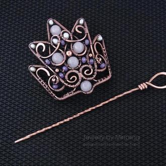 """2в1 Брошь и заколка для волос """"Корона"""" с розовым кварцем, агатом и речным жемчугом / wire wrap"""
