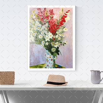 Картина копия Клод Моне « Букет гладиолусов, ромашек и лилий»