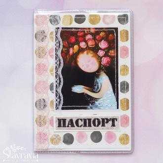 Обложка на паспорт с девушкой и цветами • обложка на загран • обложка скрапбукинг