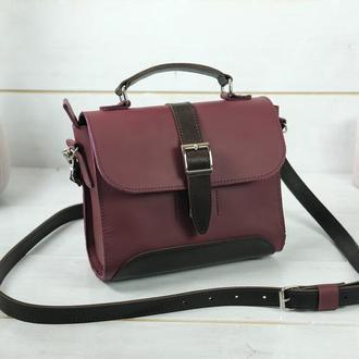Женская сумочка Марта, кожа Grand, цвет бордо