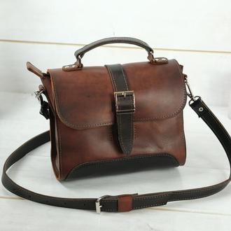 Женская сумочка Марта, Кожа Итальянский краст, цвет вишня