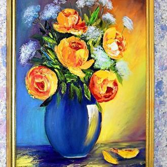 Розы в вазе,натюрморт,размер 30х40см,картина в раме
