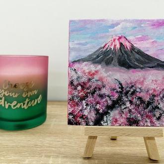 Картина маслом вулкан, Картина на подарок, Красивый вулкан, Розовая картина, Картина магнит