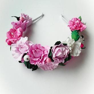 Детский венок с розовыми цветочками