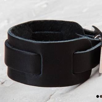 Чорний легкий шкіряний браслет з тонкою смугою код 6520