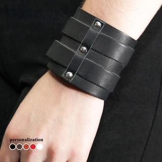 Черный широкий изящный кожаный браслет с двумя полосами и металлическими вставками код 6740