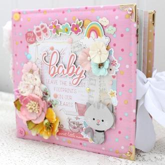 Скрап альбом для новорожденной девочки , фотоальбом для девочки в наличии