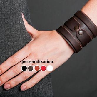 Широкий коричневый кожаный браслет - манжета код 3575