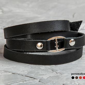 Чорний акуратний тонкий шкіряний браслет на п'ять оборотів з металевим замком код 8060