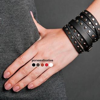 Черный тонкий кожаный браслет в шесть оборотов с металлическим замком на пряжке код 8061