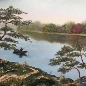 """Авторская картина маслом на холсте """"Утро"""" озеро сосна лодка"""