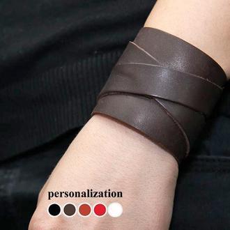 Широкий кожаный браслет  код 3297