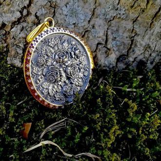 Кулон подвеска Жостово серебро 925 позолота 999 горячая эмаль