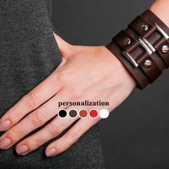 Широкий шкіряний браслет з двома квадратними елементами, код 3195