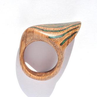 Кольцо из дерева с натуральным камнем (646)