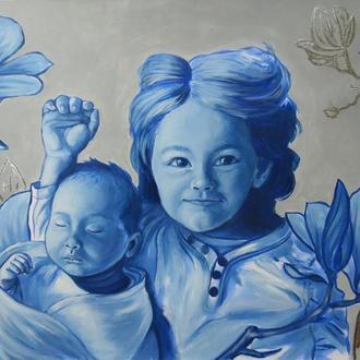 Детский портрет по фото монохромный / Портрет на заказ новорожденного ребенка