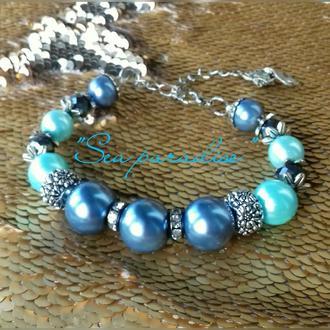 """Голубой жемчужный браслет """"SEA PARADISE"""""""