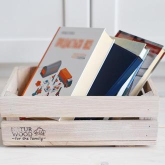 Маленький белый деревянный ящик NATURWOOD  ( 30х20х11 см)