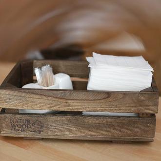 Темный деревянный короб  ( 30х20х11 см)