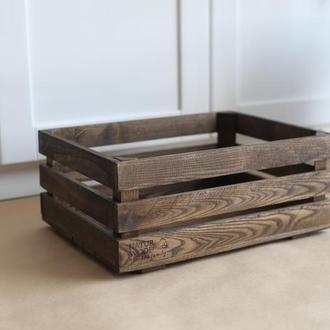 Темный деревянный ящик NATURWOOD  ( 40 х 30 х 17 см)