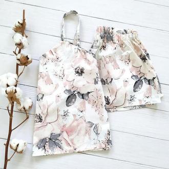 """Жіноча піжама в пастельних відтінках з майки і шортів """"Троянди"""" на подарунок"""