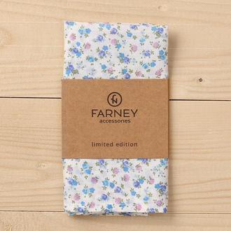"""Нагрудный карманный платок """"паше"""" белый принт голубые мелкие цветы"""