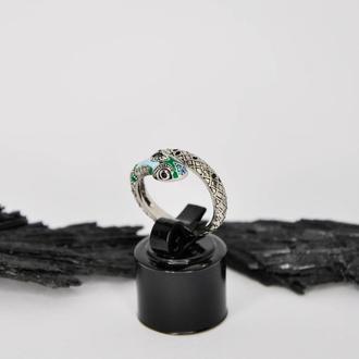 Серебряное кольцо Змея с эмалью