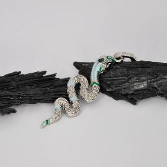 Серебряный кулон Змея с эмалью