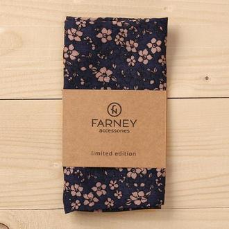 """Нагрудный карманный платок """"паше"""" синий принт бежевые мелкие цветы"""