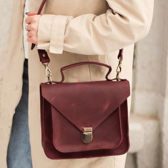 Женская деловая сумка  из винтажной натуральной кожи бордового цвета