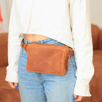 Женская сумка бананка на пояс  из натуральной винтажной кожи коньячного ц
