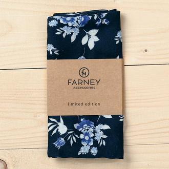 """Нагрудный карманный платок """"паше"""" темно-синий принт синие цветы"""