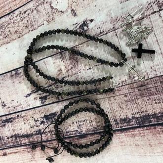 Комплект : бусы и парные браслеты
