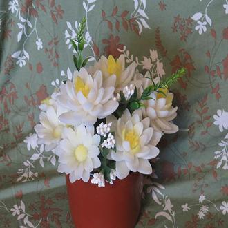 мыльный букет, лилии и ромашки