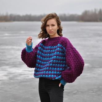 Женский свитер ручной вязки, Джемпер оверсайз, Свитер с рукавами буфами, Свитер массивной вязки