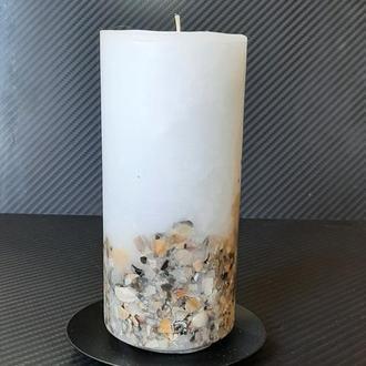 Свеча цилиндр с ракушками