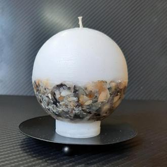 Свеча шар с ракушками