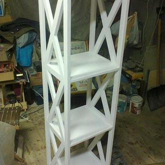Белый стеллаж из дерева, 4 полки