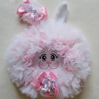 Розовый зайчик. Декор детской комнаты. Подарок девочке.